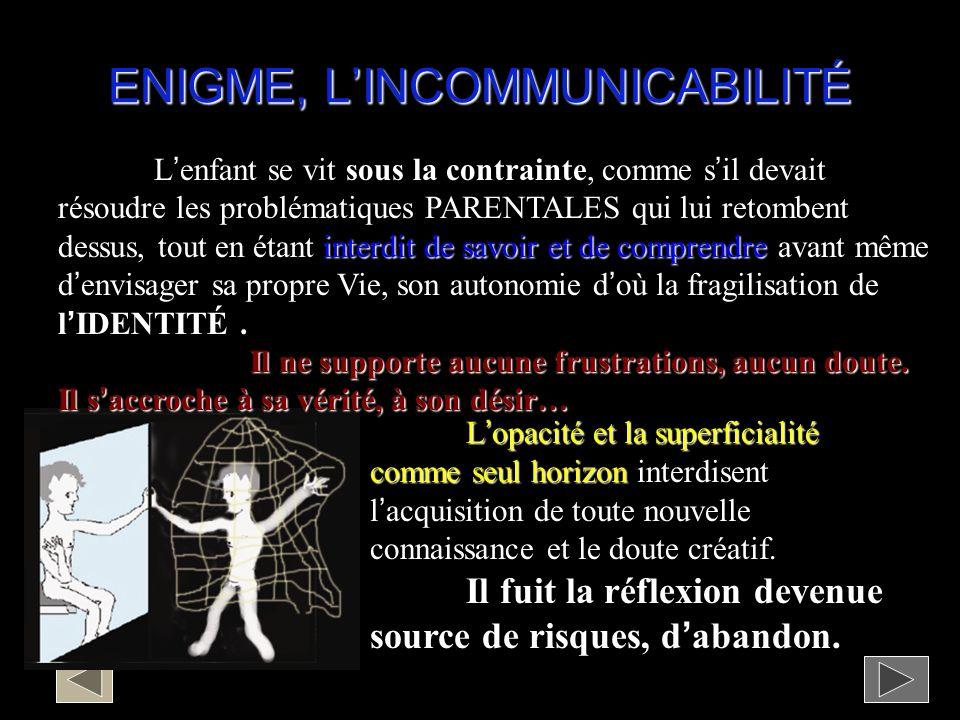 ENIGME, L'INCOMMUNICABILITÉ