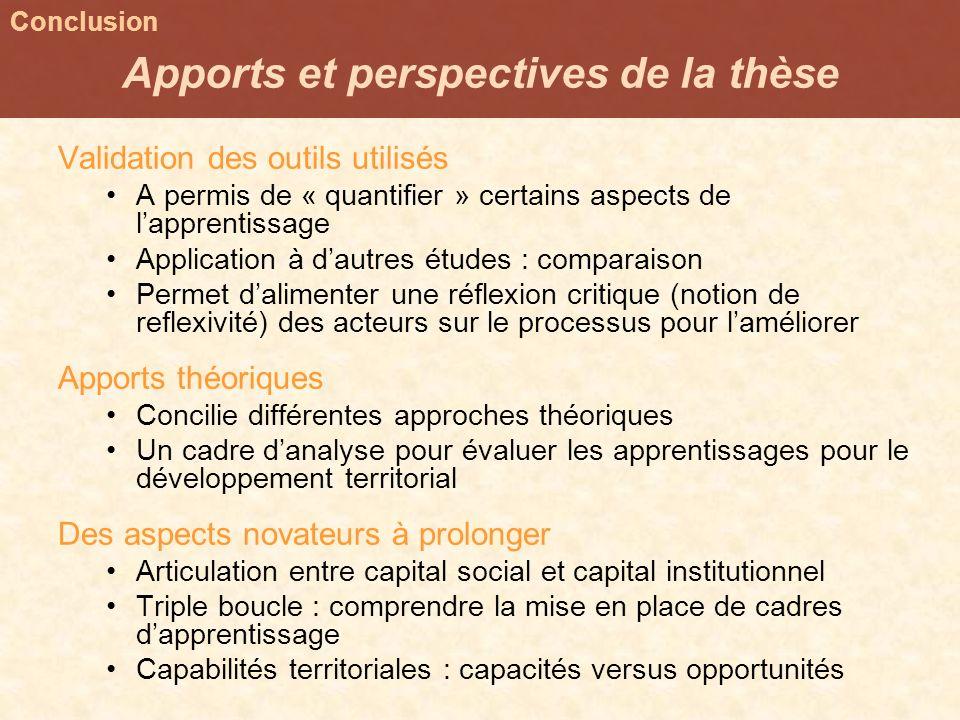 Apports et perspectives de la thèse