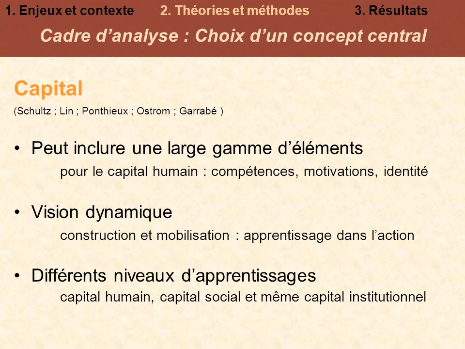 Cadre d'analyse : Choix d'un concept central