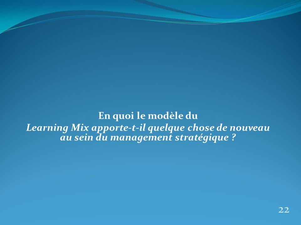 En quoi le modèle du Learning Mix apporte-t-il quelque chose de nouveau au sein du management stratégique