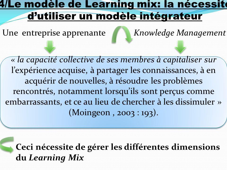 4/Le modèle de Learning mix: la nécessité d'utiliser un modèle intégrateur