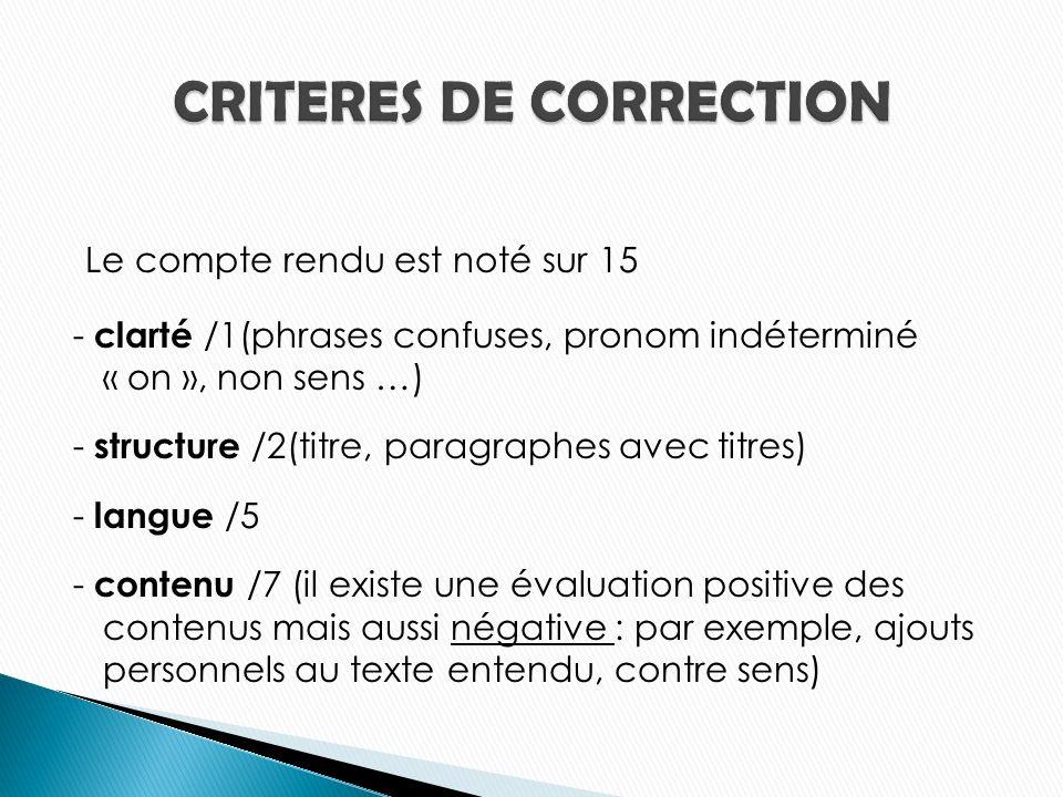 CRITERES DE CORRECTION