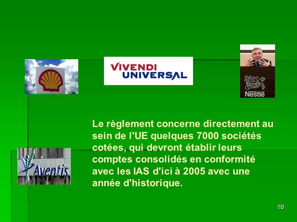 Le règlement concerne directement au sein de l UE quelques 7000 sociétés cotées, qui devront établir leurs comptes consolidés en conformité avec les IAS d ici à 2005 avec une année d historique.
