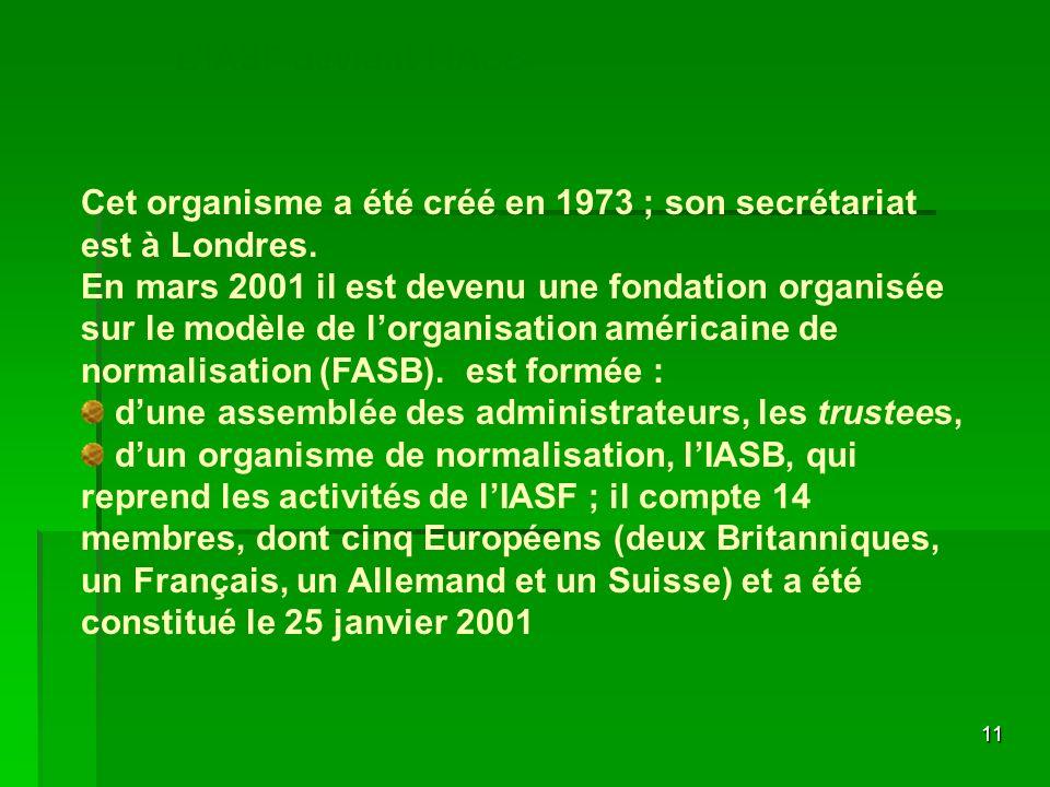 L'IASF devient l'IASB Cet organisme a été créé en 1973 ; son secrétariat est à Londres.