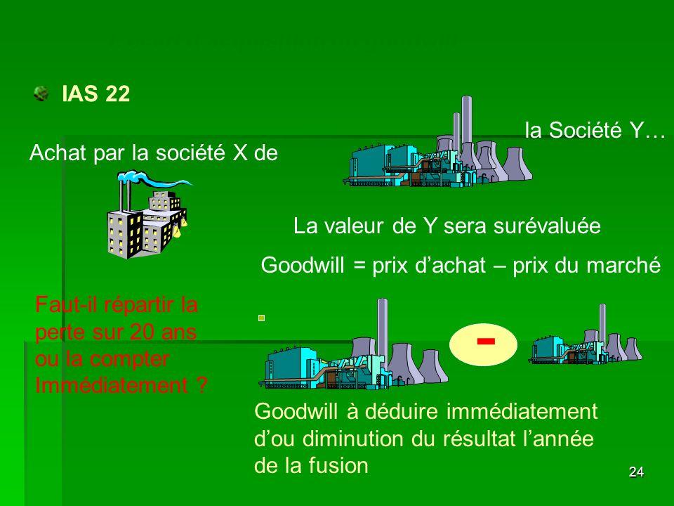 - L'écart d'acquisition ou goodwill IAS 22 la Société Y…