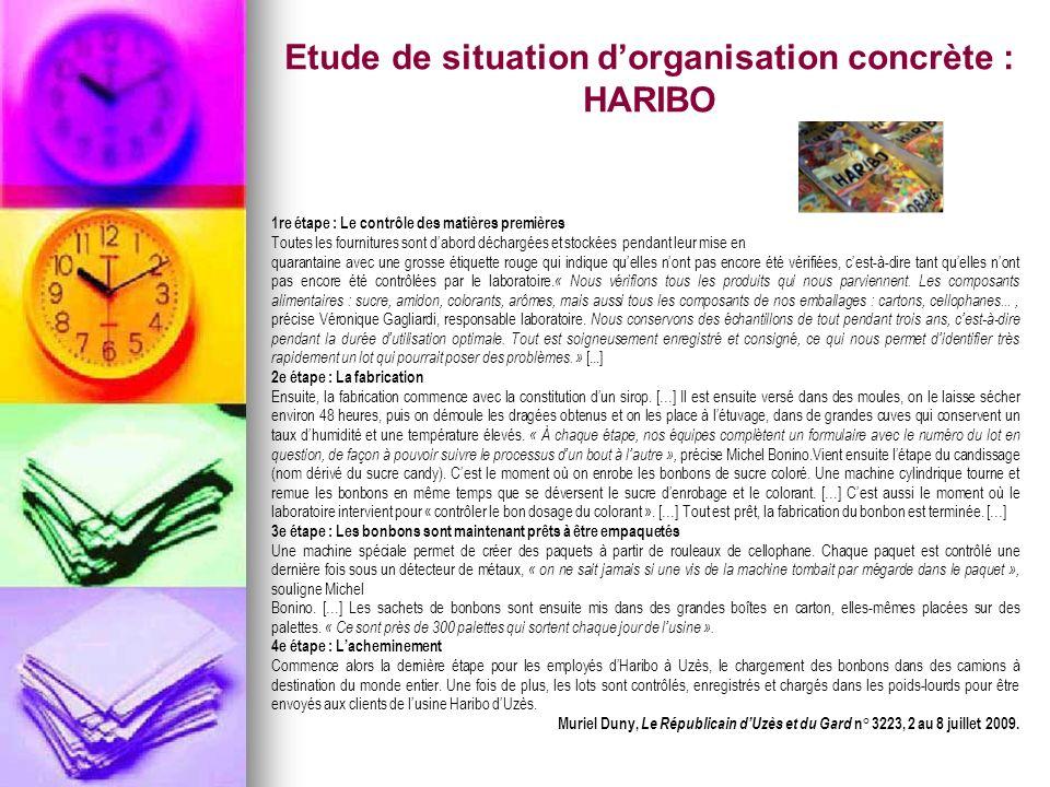 Etude de situation d'organisation concrète : HARIBO