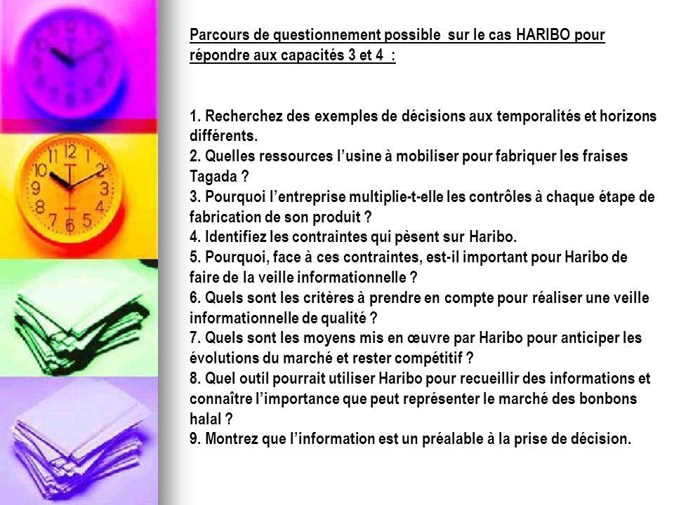 Parcours de questionnement possible sur le cas HARIBO pour répondre aux capacités 3 et 4 :
