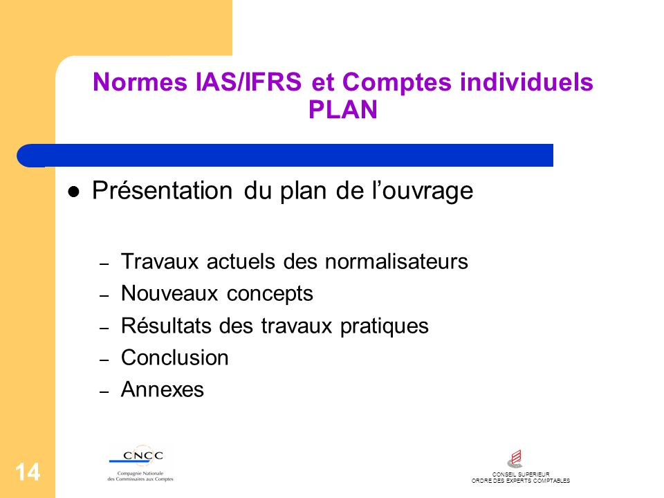 Normes IAS/IFRS et Comptes individuels PLAN