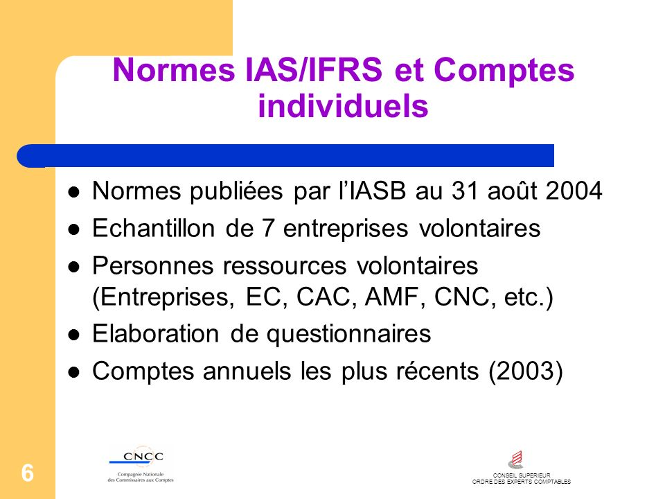 Normes IAS/IFRS et Comptes individuels