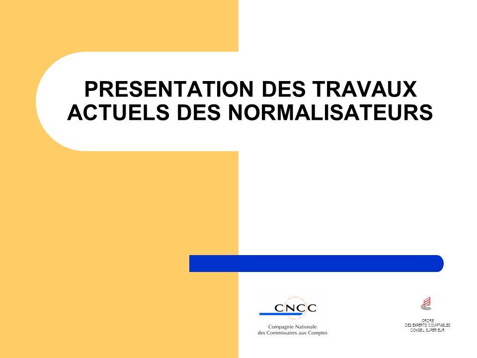 PRESENTATION DES TRAVAUX ACTUELS DES NORMALISATEURS