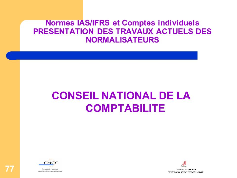 CONSEIL NATIONAL DE LA COMPTABILITE