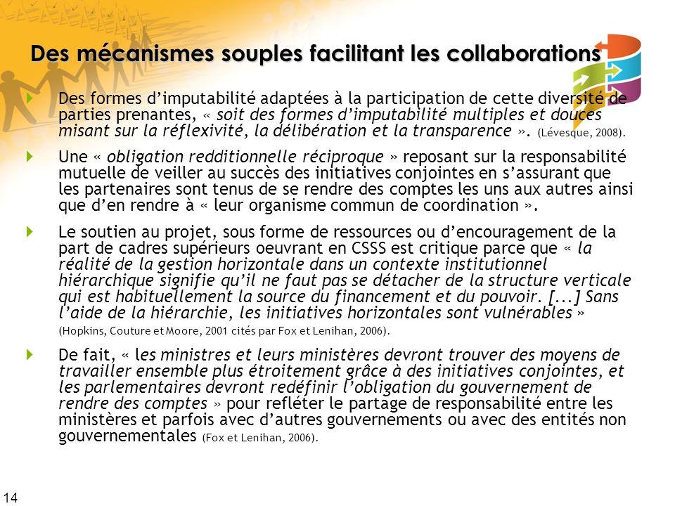 Des mécanismes souples facilitant les collaborations