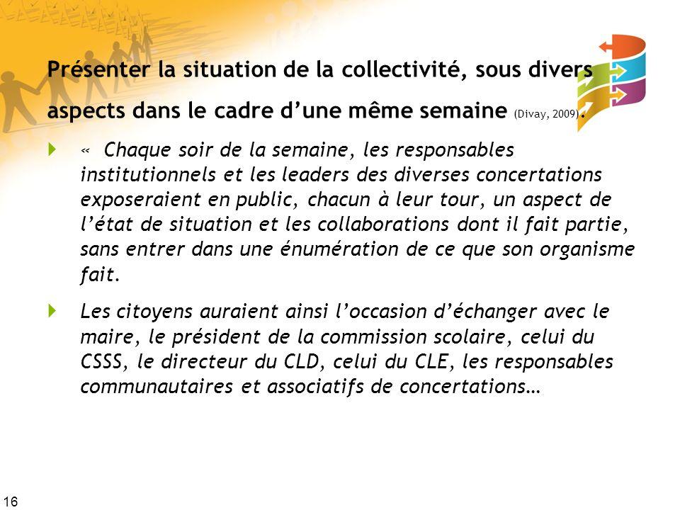 Présenter la situation de la collectivité, sous divers