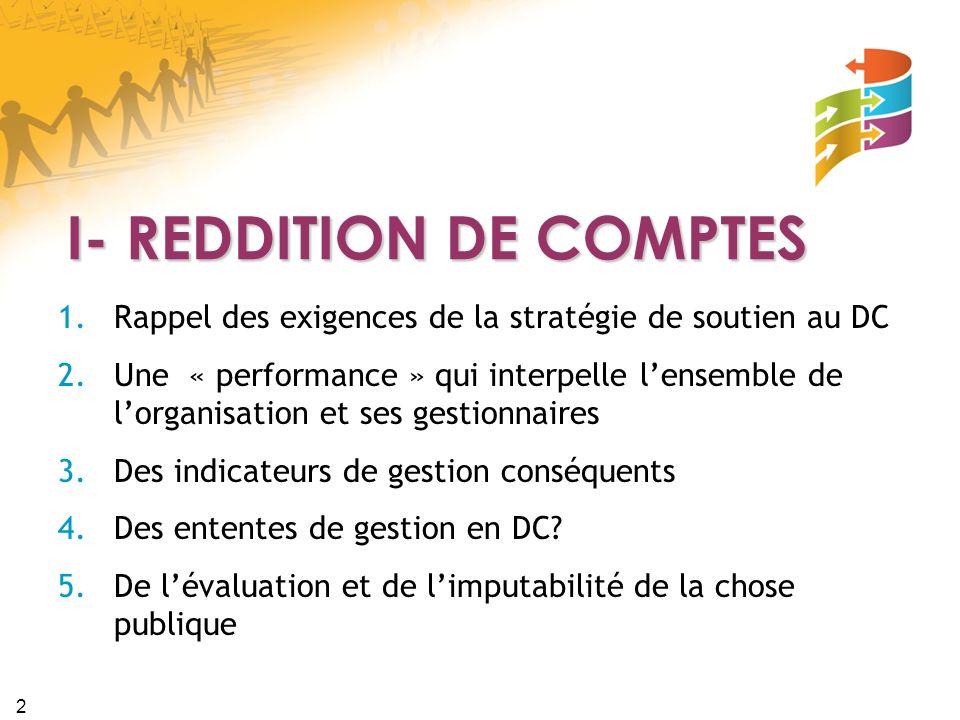 I- REDDITION DE COMPTES