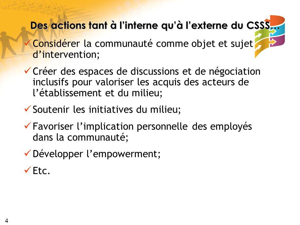 Des actions tant à l'interne qu'à l'externe du CSSS…
