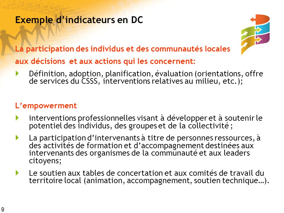 Exemple d'indicateurs en DC