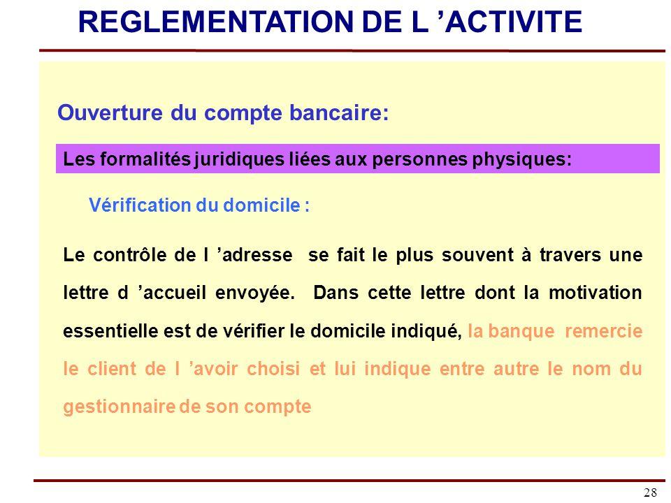 REGLEMENTATION DE L 'ACTIVITE