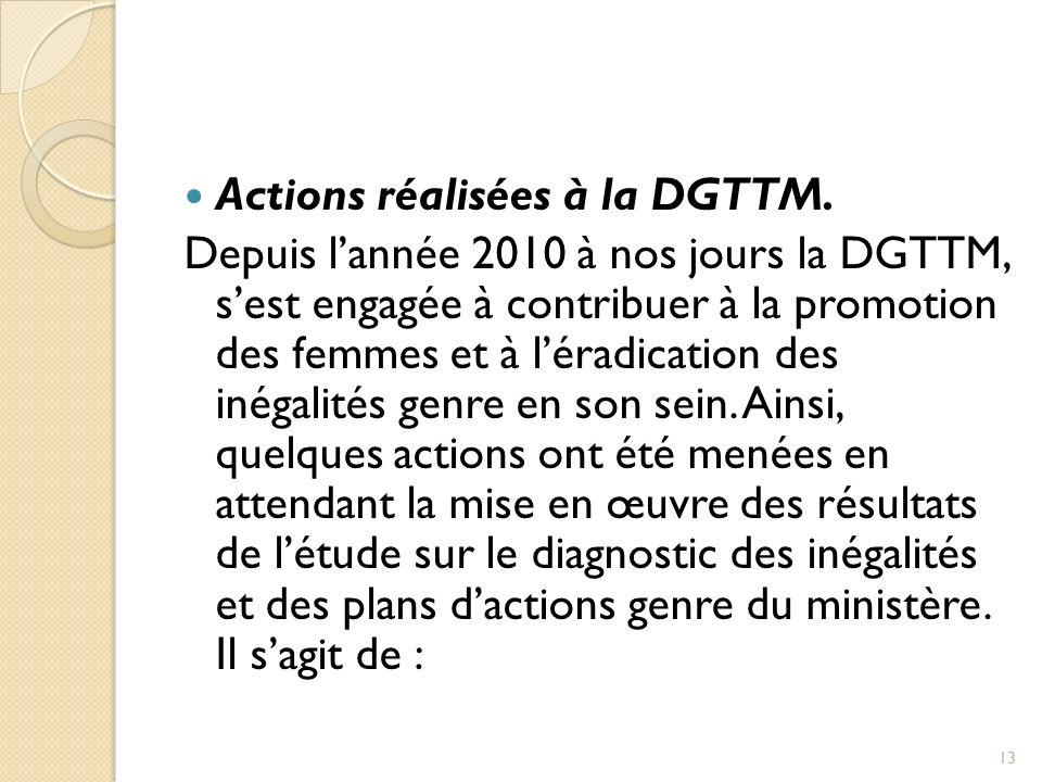 Actions réalisées à la DGTTM.