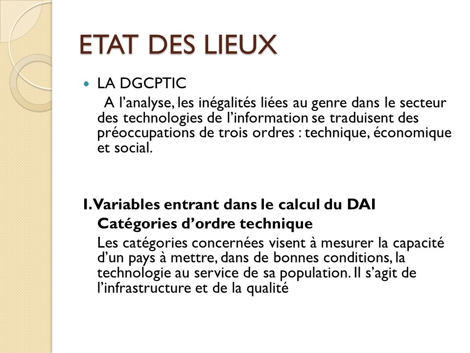 ETAT DES LIEUX LA DGCPTIC