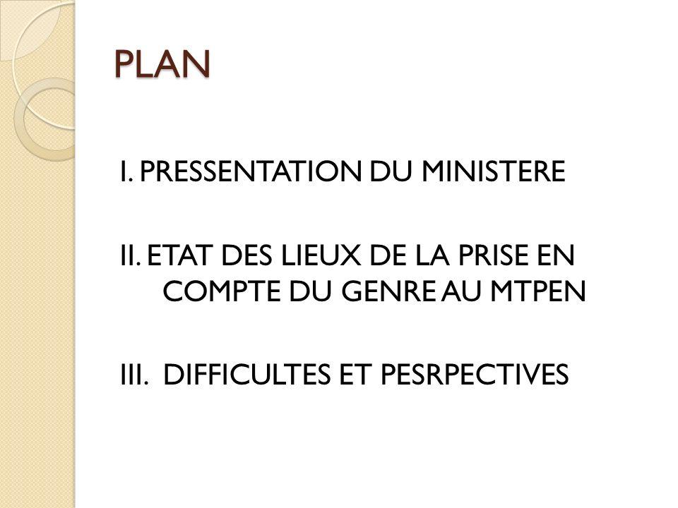 PLAN I. PRESSENTATION DU MINISTERE II. ETAT DES LIEUX DE LA PRISE EN COMPTE DU GENRE AU MTPEN III.