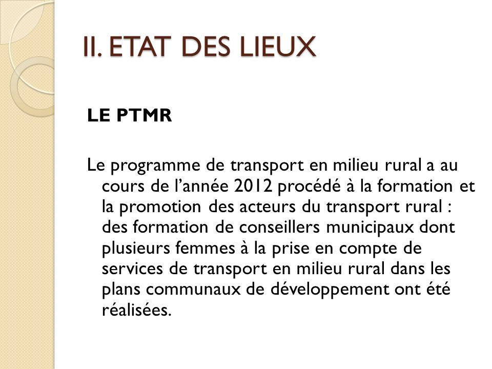 II. ETAT DES LIEUX LE PTMR