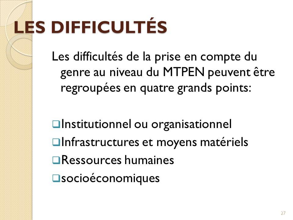 LES DIFFICULTÉS Les difficultés de la prise en compte du genre au niveau du MTPEN peuvent être regroupées en quatre grands points: