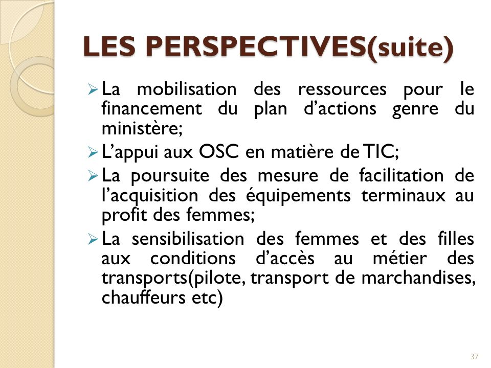 LES PERSPECTIVES(suite)