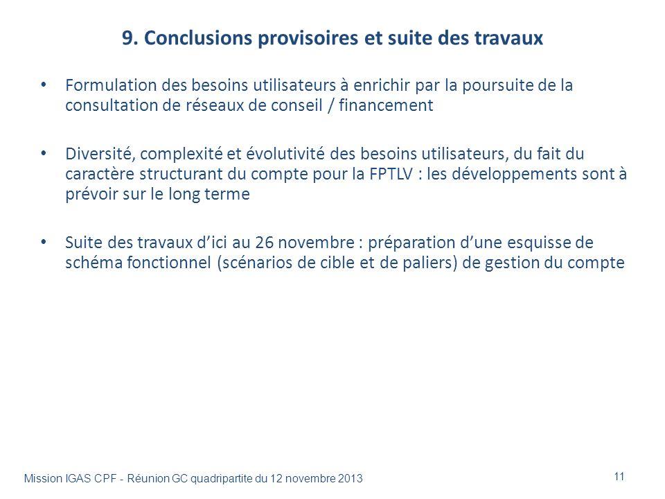 9. Conclusions provisoires et suite des travaux