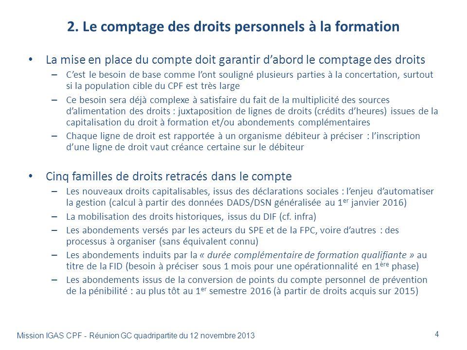 2. Le comptage des droits personnels à la formation