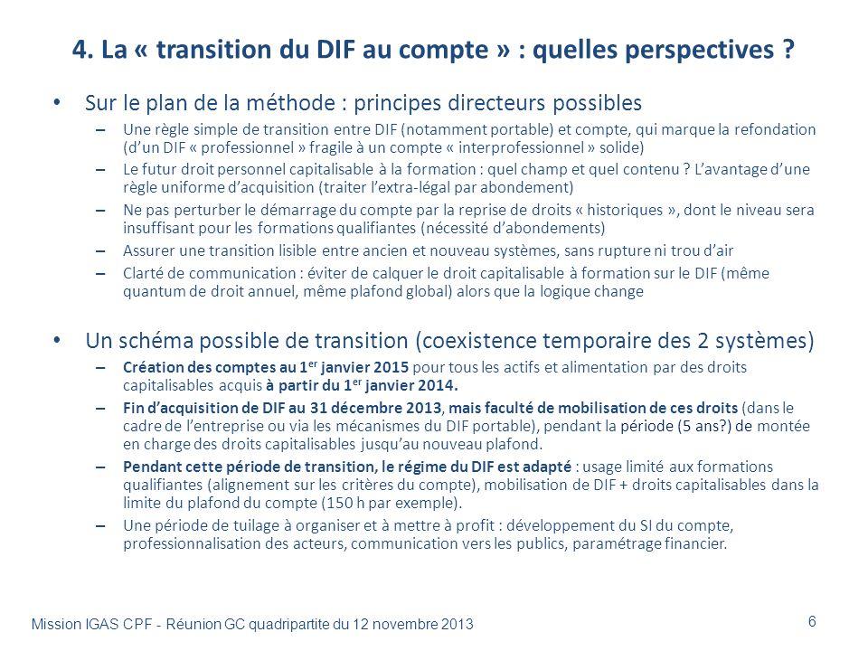 4. La « transition du DIF au compte » : quelles perspectives