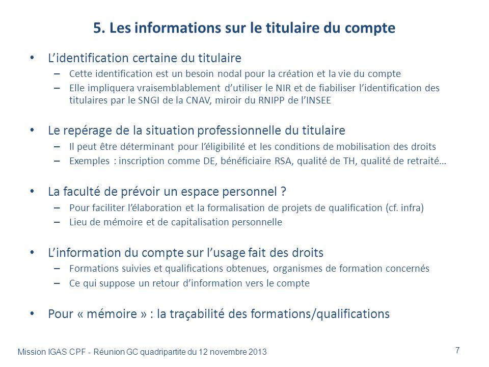 5. Les informations sur le titulaire du compte