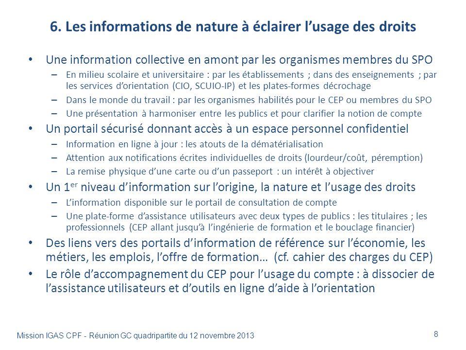 6. Les informations de nature à éclairer l'usage des droits