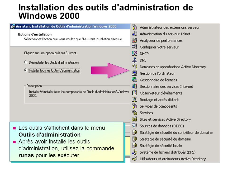 Installation des outils d administration de Windows 2000