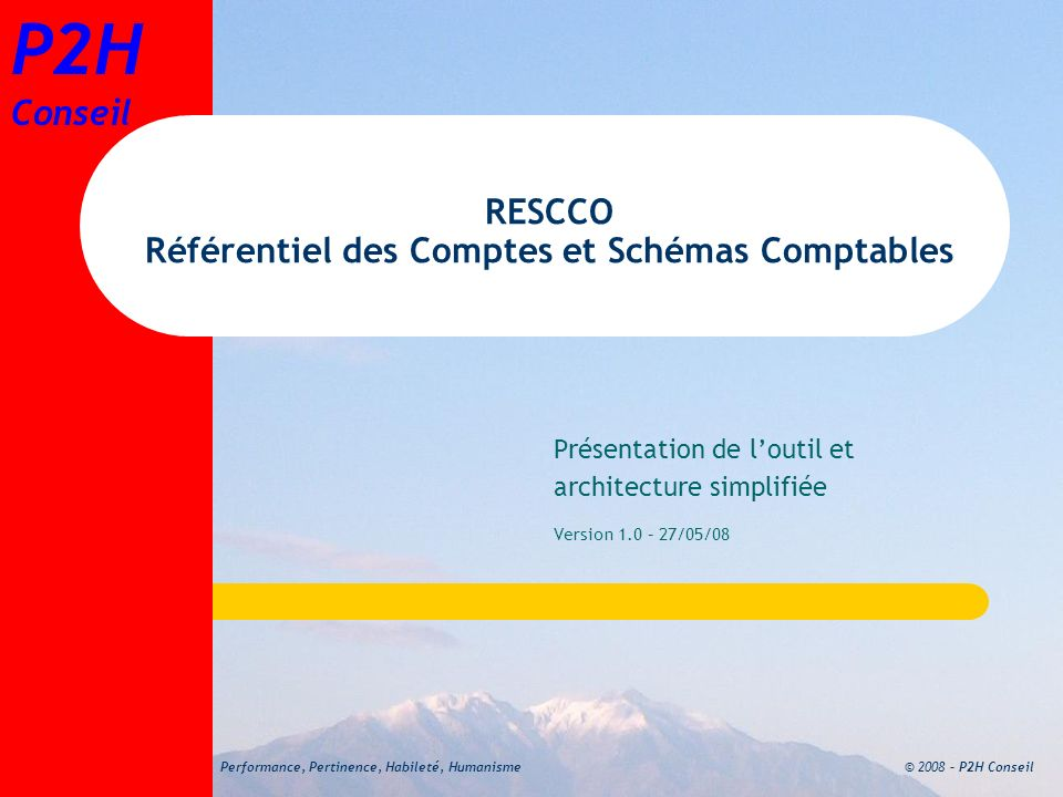 RESCCO Référentiel des Comptes et Schémas Comptables