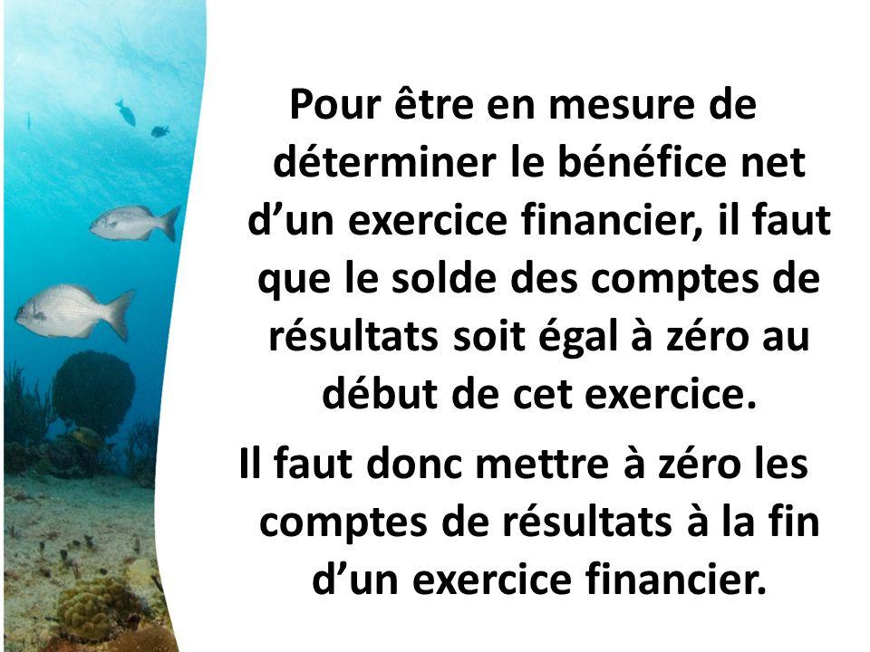 Pour être en mesure de déterminer le bénéfice net d'un exercice financier, il faut que le solde des comptes de résultats soit égal à zéro au début de cet exercice.