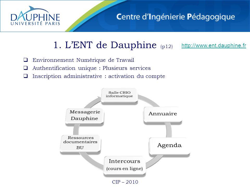 1. L'ENT de Dauphine (p12) Annuaire Agenda Messagerie Intercours