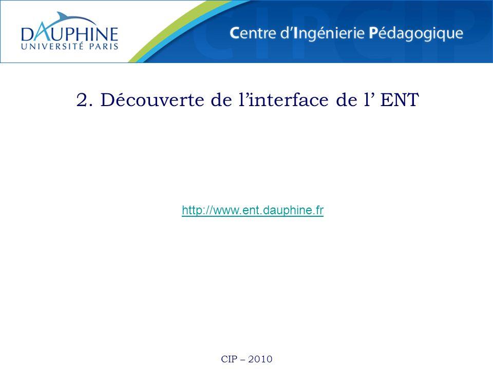 2. Découverte de l'interface de l' ENT