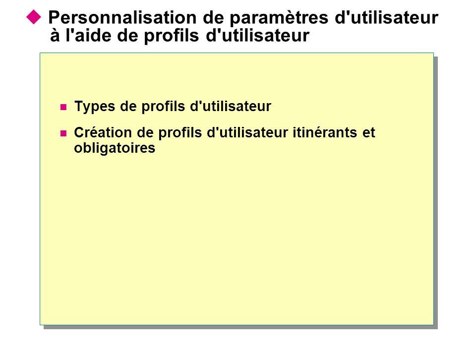Personnalisation de paramètres d utilisateur