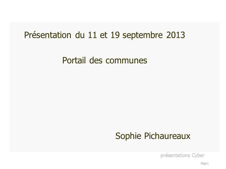 Présentation du 11 et 19 septembre 2013