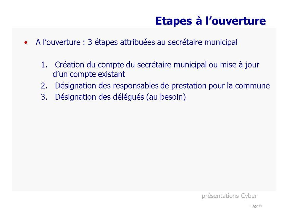 Etapes à l'ouverture A l'ouverture : 3 étapes attribuées au secrétaire municipal.