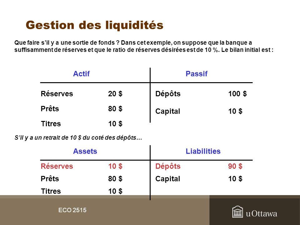 Gestion des liquidités