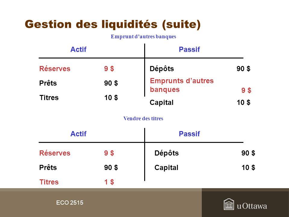 Gestion des liquidités (suite)