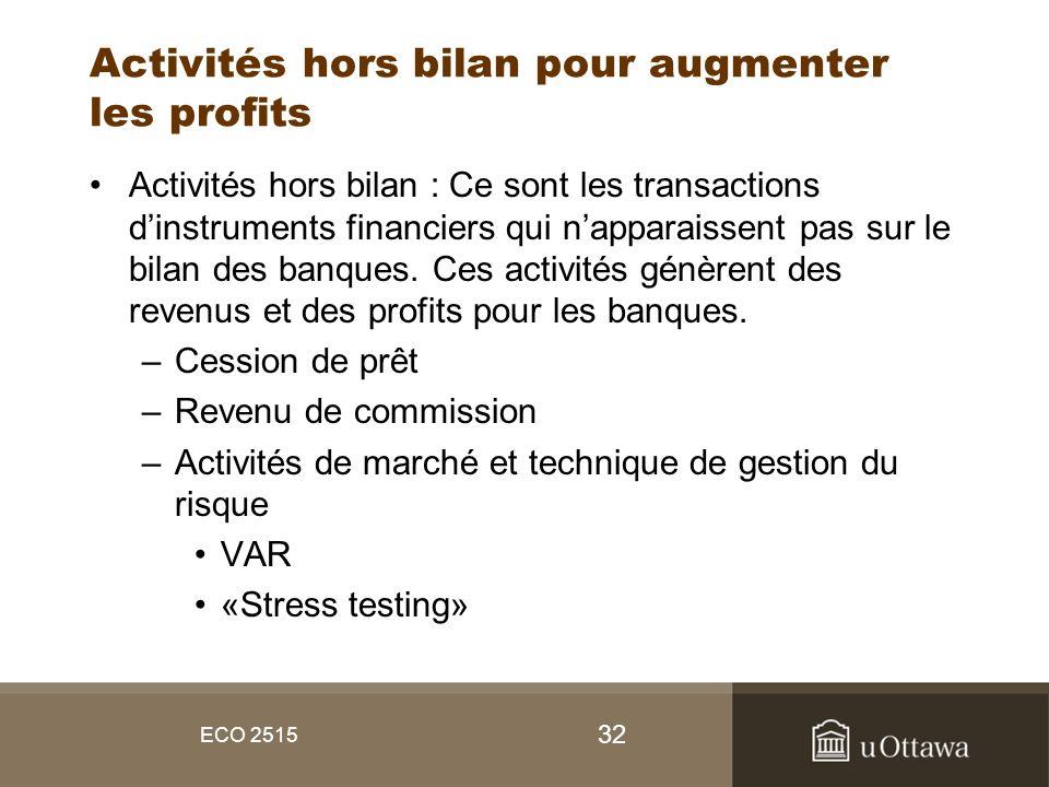 Activités hors bilan pour augmenter les profits