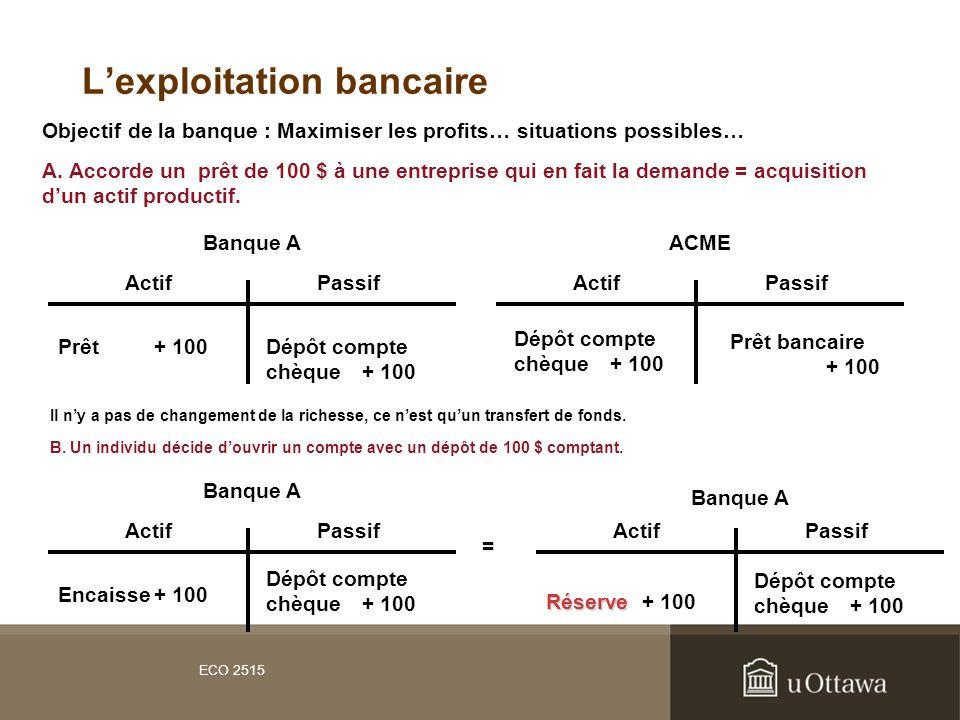 L'exploitation bancaire