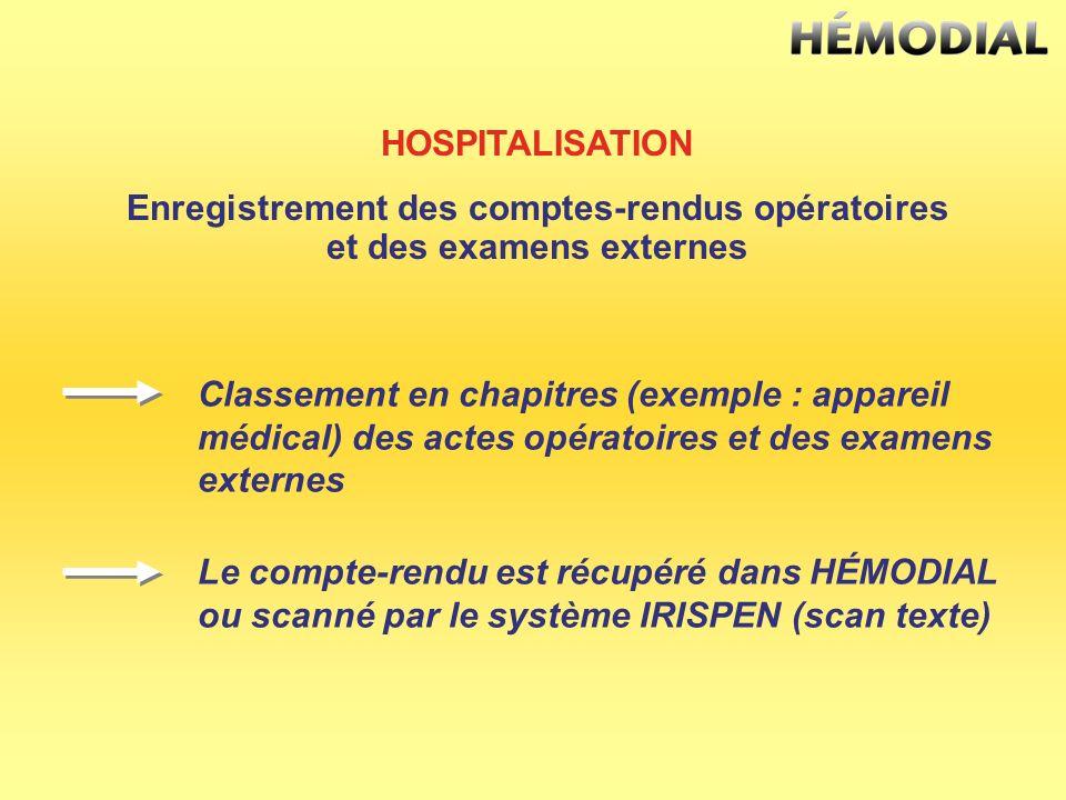 Enregistrement des comptes-rendus opératoires et des examens externes
