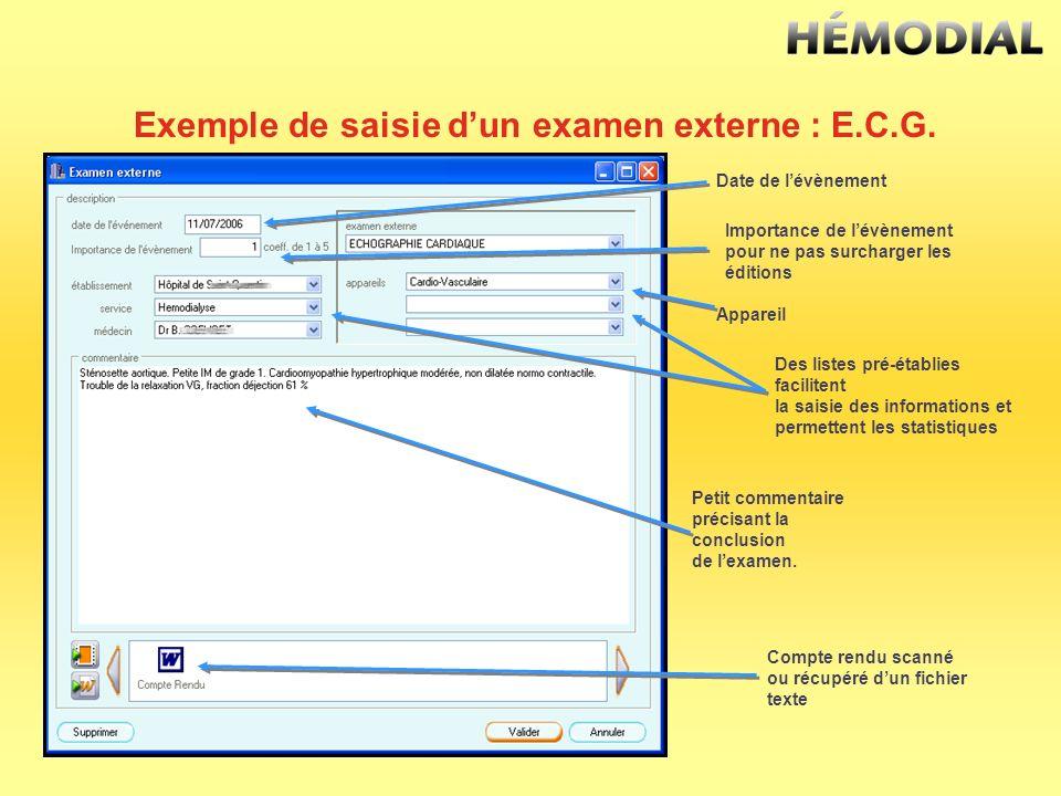 Exemple de saisie d'un examen externe : E.C.G.