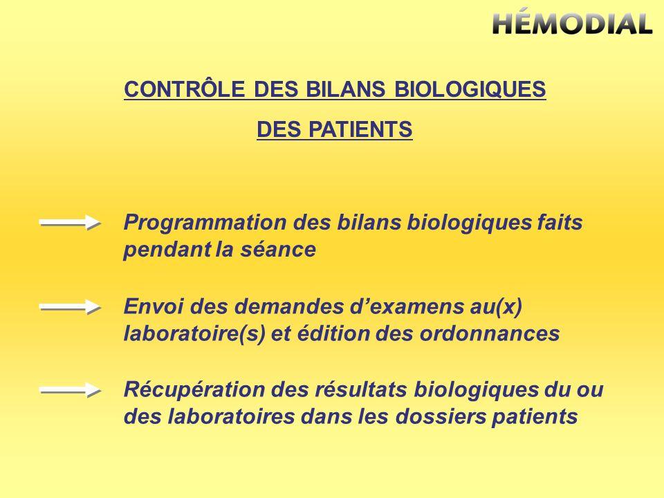 CONTRÔLE DES BILANS BIOLOGIQUES