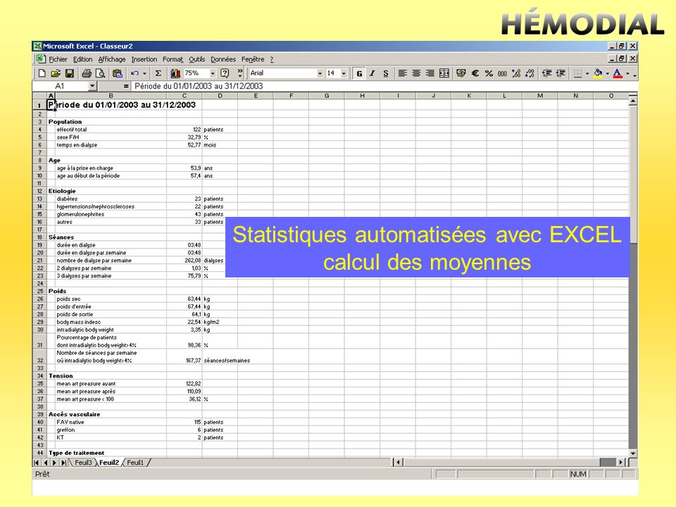 Statistiques automatisées avec EXCEL