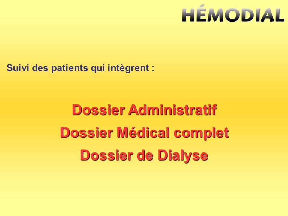 Dossier Administratif Dossier Médical complet Dossier de Dialyse