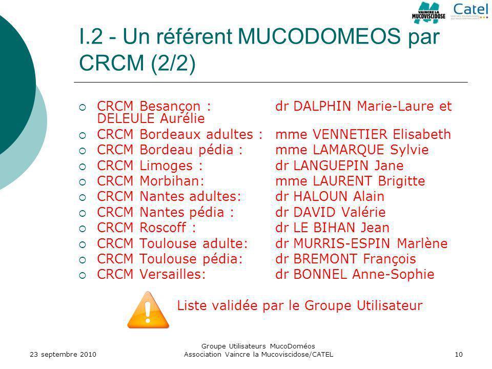 I.2 - Un référent MUCODOMEOS par CRCM (2/2)